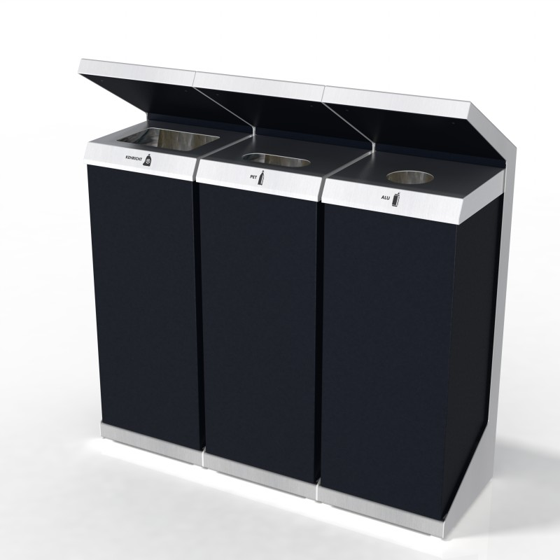 Recyclingstation Q-Serie, Recycling Station Q-3, Wertstofftrenner, Wertstoffbehälter, PET Recycling, 110 Liter, Public Waste Bins, Poubelle Recyclage, Abfallbehälter Inox